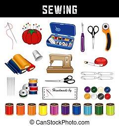 materiais, cosendo, ferramentas