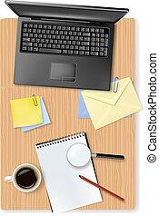 materiais de escritório, laptop
