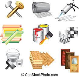 materiais edifício, jogo, vetorial, ícones