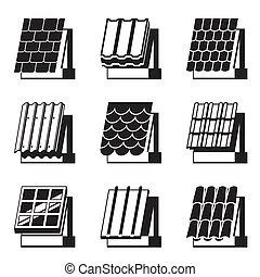 materiais edifício, para, telhados