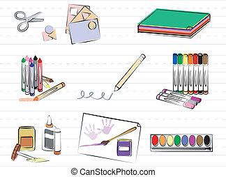 materiais, escola, arte