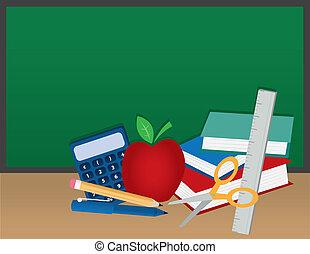 materiais, escola, chalkboard