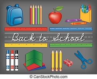 materiais, escola, chalkboard, costas