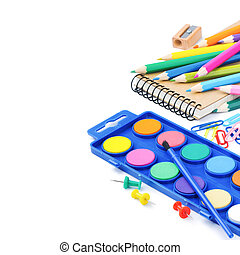 materiais, escola, coloridos