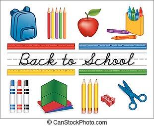 materiais, escola, costas