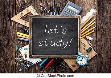 Materiais, escola, Educação, fundo