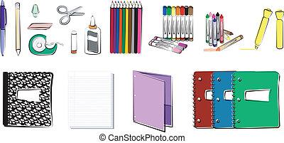 materiais, escola, escritório