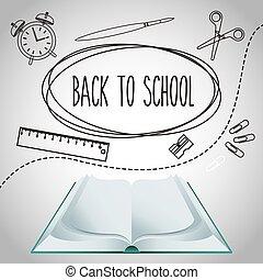 materiais, escola, jogo, costas