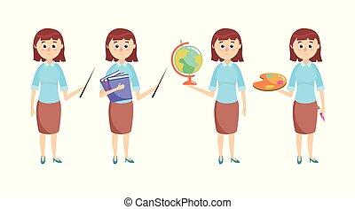 materiais, escola, jogo, educação, professor