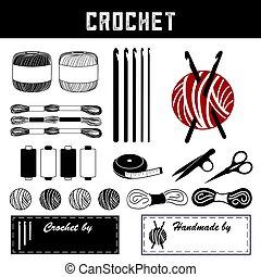 materiais, fazer, renda, diy, crochet