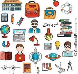 materiais, pupilas, professor, esboço, escola