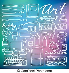 materiais, set., vetorial, arte, ilustração