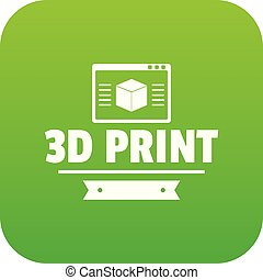 Material 3d printing icon green vector