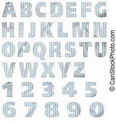 material, alphabet:, rayas azules