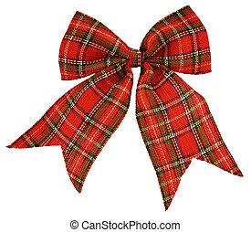 material, arco, rojo, escocés, afuera