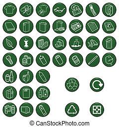 material, conjunto, icono, reciclable