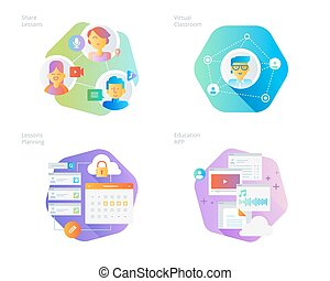 Material design icons set for online education, apps, virtual classroom, education network, lecture program for teachers
