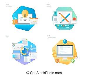 material, diseño, iconos, conjunto, para, diseño telaraña, y, desarrollo, seo, tela, director