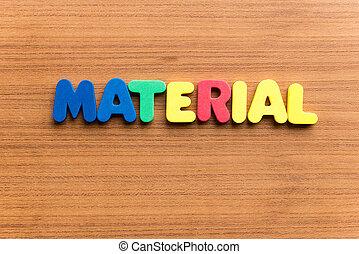material, färgrik, ord