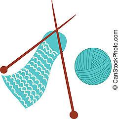 material, tricotando