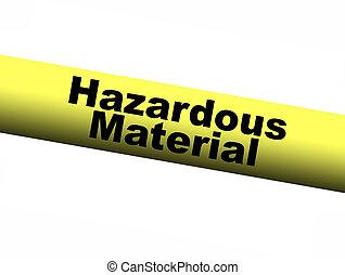 materiale pericoloso, nastro, giallo, barriera