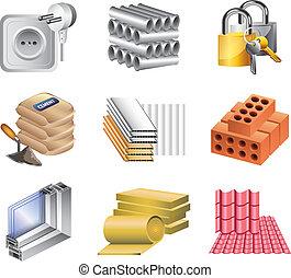 materiales de construcción, iconos, vector, conjunto