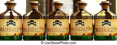 Materialism can be like a deadly poison - pictured as word ...