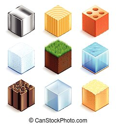 Materials and textures cubes icons vector set