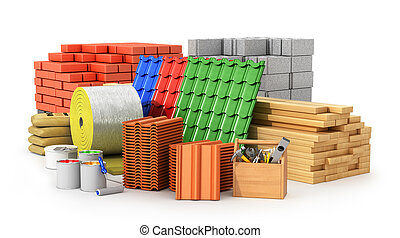 Materials for roofing, construction materials, isolated on a...