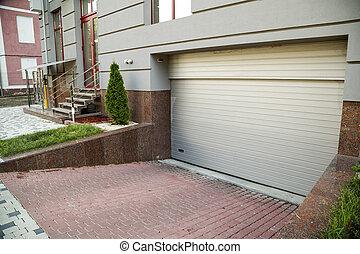 materials., surface, granit, vue, garage, partie, bâtiment, wall., pierre, naturel, haut, porte, fin, façade