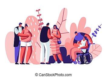 maternità, famiglia, couples, relations., femmina, ragazza, wheelchair., loro, giovane, husbands., maternità, attesa, felice, appartamento, illustrazione, caratteri, cartone animato, invalido, incinta, sano, vettore, baby.