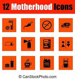 maternità, set, icona