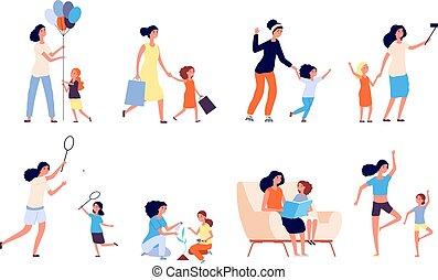 maternité, femme, mère, temps, vecteur, daughter., isolé, jeu, ensemble, heureux, yoga., lire, dépenser, jeux, kid., maman, girl, sport