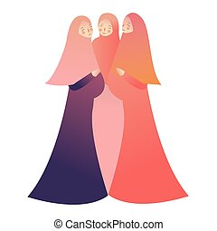 Maternity concept. Portrait of three happy pregnant women. Islam wearing veil hijab.