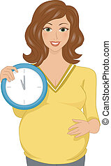 Maternity Due Date - Illustration Featuring a Pregnant Woman...