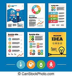 Brochure or flyers design. Maternity icons. Baby infant, pregnancy and dress signs. Head with heart symbol. Business poll results infographics. Vector