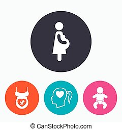 Maternity icons. Baby infant, pregnancy, dummy. - Maternity...