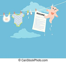 Job applicant resume hanging on a clothesline together with baby clothing as a metaphor for a maternity leave, EPS 8 vector illustration