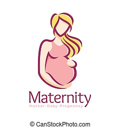 Maternity logo design template, pregnancy mother and baby symbol or icon template