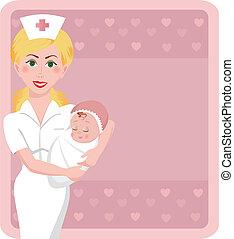 Maternity Nurse - A beautiful nurse holds an adorable...