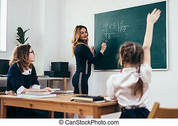 mathématique, écrit, prof, exemple, tableau