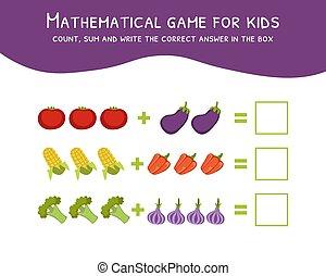 mathématique, boîte, compte, somme, illustration, écrire, jeu, vecteur, réponse, gosses, correct
