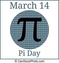 mathématique, circonférence, constant., mars, pi., 14th., nombre, day., calendar., pi, constante, circle?s, vacances, diameter., sien, proportion