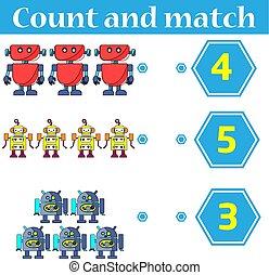 mathématique, compte, pédagogique, gosses, worksheet, -, jeu, kids., children., dénombrement, préscolaire, allumette