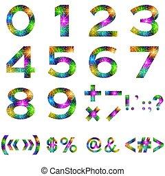 mathématique, ensemble, nombres, signes