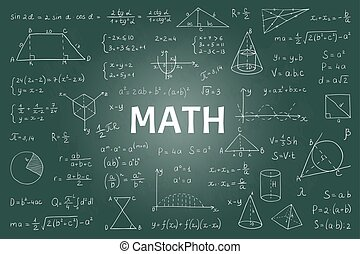 mathématique, formules, école, théorie, géométrie, griffonnage, graphs., main, vecteur, signes, dessiné, education, équations, math, blackboard.