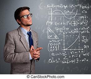 mathématique, garçon, école, pensée, sur, complexe, signes, beau