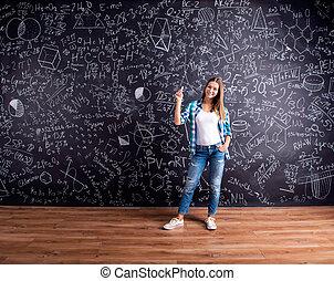 mathématique, grand, contre, symboles, étudiant, tableau noir