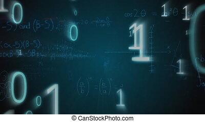 mathématique, graphiques, équations, codes, binaire