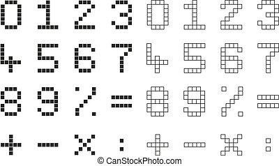 mathématique, isolé, collection, 2, nombres, signes, pixel